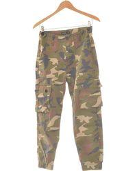 Bershka Pantalon Droit Femme 34 - T0 - Xs Pantalon - Vert