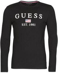 Guess T-shirt Lange Mouw Cn Ls Belong To Tee - Zwart