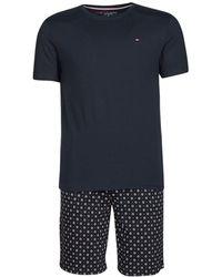 Tommy Hilfiger Pyjama's / Nachthemden Cn Ss Short Jersey Set Print - Blauw