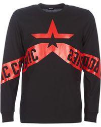 DIESEL T-shirt Lange Mouw T Just Ls Star - Zwart
