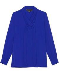 Bleu D'azur Blouses Blouse crêpe unie bleu col V écharpe TRESOR