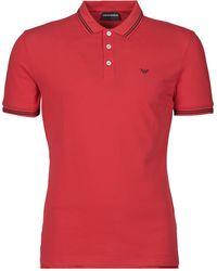 Emporio Armani Polo en piqué de coton avec logo contrasté sur la poitrine - Rouge