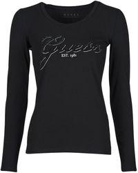 Guess LS CN RAISA TEE T-shirt - Noir
