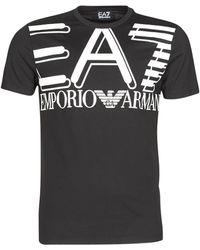 EA7 T-Shirt En Jersey Avec Logo Imprimé - Noir