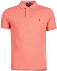 Polo Ralph Lauren Polo Shirt Korte Mouw Polo Ajuste Droit En Coton Basic Mesh Logo Pony Player - Oranje