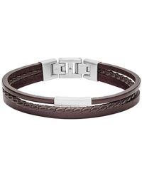 Fossil Bracelets Bracelet en Acier et Cuir Véritable - Blanc