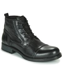 Jack & Jones Laarzen Jfw Russel Leather Mid - Zwart