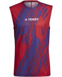 adidas Camiseta tirantes Camiseta sin mangas Terrex Parley Agravic Trail Running - Rojo