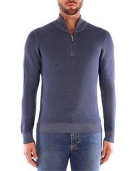 Gran Sasso HALF ZIP suéteres hombre avio - Azul