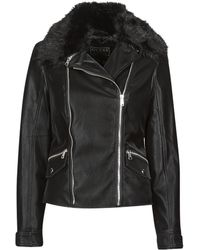 Guess Giacca In Pelle Cantara - Nero