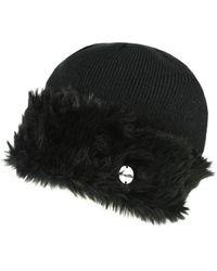 Regatta S/ladies Luz Fur Trim Cotton Jersey Winter Beanie Hat - Black