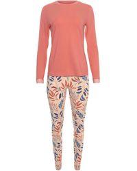 Lisca Pyjama's / Nachthemden Pyjama Binnenkleding legging Top Lange Mouwen Mellow - Oranje