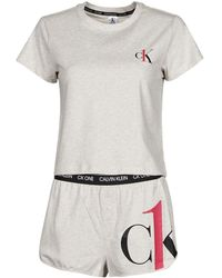 Calvin Klein SS SHORT SET Pyjamas / Chemises de nuit - Gris