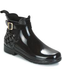 HUNTER - REFINED GLOSS QUILT CHELSEA femmes Boots en Noir - Lyst