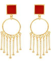 Skalli - Romy Earrings Gold / Black Women's Earrings In Red - Lyst