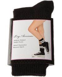Leg Avenue Socken Socke mittelhoch - Nylon - Athletic striped anklet socks - Schwarz