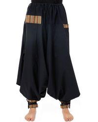 Fantazia Sarouel large ethnique japonais Sawati Pantalon - Noir