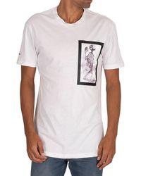 Religion T-shirt T-shirt de bondage de peinture squelette - Blanc
