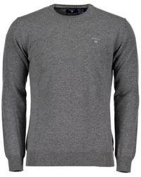 GANT Jersey de cuello redondo en lana de oveja muy fina - Gris