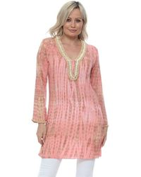 HOT LAVA Bamboo Moonstone Long Tunic In Coral Blouse - Orange