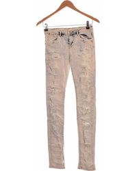 Bershka Jean Slim Femme 34 - T0 - Xs Jeans - Bleu
