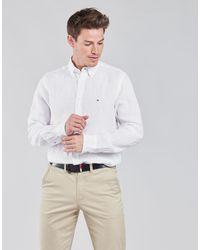 Tommy Hilfiger Camicia A Maniche Lunghe Pigment Dyed Linen Shirt - Bianco