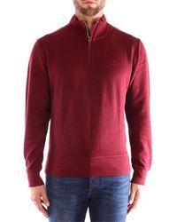 GANT SACKER RIB HALF ZIP suéteres hombre Burdeos - Rojo