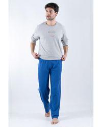 Armor Lux Pyjama long - coton Pyjamas / Chemises de nuit - Bleu