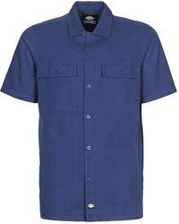 Dickies Overhemd Korte Mouw Pine Lake - Blauw