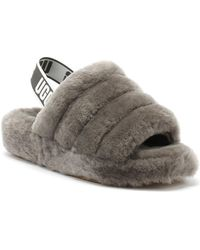 UGG Fluff Yeah Womens Charcoal Grey Slippers Sandals
