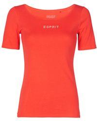 Esprit T-shirt STRASS LOGO - Rouge