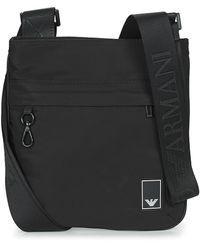 Emporio Armani Handtasje Small Flat Mess. Travel Essent - Messenger Bag - Zwart