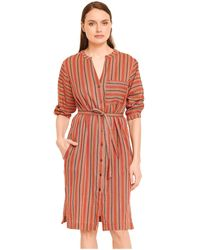 Mkt Studio Robe courte Robe chemise rayée col V manches 3/4 RUBEN - Rouge