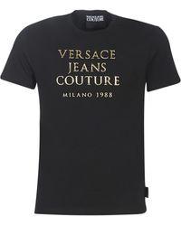 Versace Jeans T-shirt Met Logoplakkaat - Zwart
