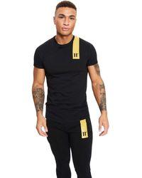 11 Degrees Camiseta Topaz para hombre Negra y Dorada - Negro