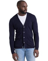 Woolovers Cashmere And Merino V Neck Cardigan - Blue
