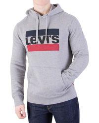 Levi's   Levis Men's 84 Graphic Pullover Hoodie, Grey Men's Jumper In Grey   Lyst