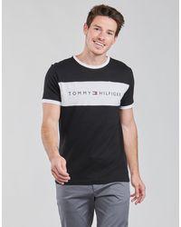 Tommy Hilfiger T-shirt ras de cou confort avec empiècement contrastant sur le devant - Bleu