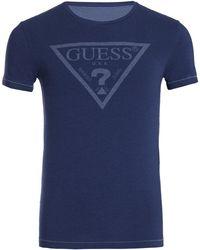 Guess Crew Neck S/S hommes T-shirt en bleu