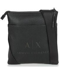 Armani Small Flat Crossbody Bag - Man'S Small Flat Crossbody Bag Sacoche - Noir
