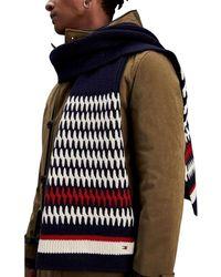 Tommy Hilfiger Écharpe multicolor en laine dagneau mélangée hommes Echarpe en bleu