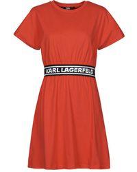 Karl Lagerfeld Korte Jurk Logotapet-shirtdress - Oranje