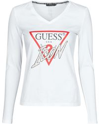Guess LS VN ICON TEE T-shirt - Blanc