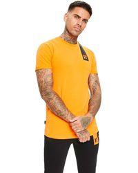 11 Degrees Camiseta Topaz para hombre Naranja con detalle Negro