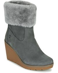Timberland Lage Sneakers Paris Height Shearling Fold Down Castlerock - Blauw