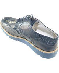 Malu Shoes Scarpe uomo stringate vera pelle blu made in italy fondo gomma