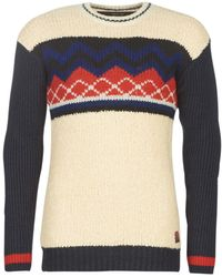 Scotch & Soda Trui Mixed Teddy And Rib Knit Pull With Placement Pattern