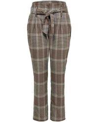 ONLY ONLLENA HW PAPERBAG CHECK PANTS Pantalon - Neutre