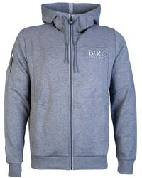327af8bc2 BOSS Embroidery-detail Jersey Hoody in Black for Men - Lyst