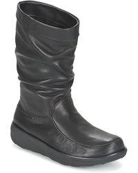Fitflop Laarzen Loaf Slouchy Knee Boot Leather - Zwart